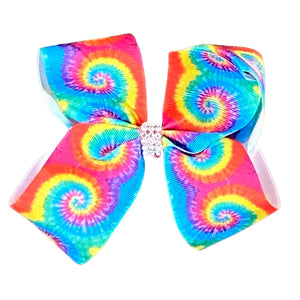 Tie Dye Rainbow Ribbon Hair Bow