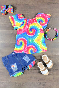 Neon Rainbow Tie Dye Denim Patch Short Set