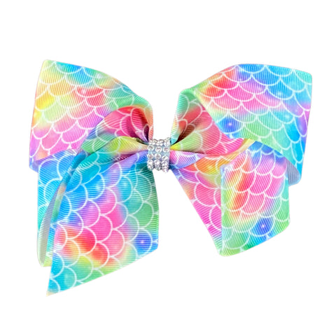 Rainbow Mermaid Scale Ribbon Hair Bow