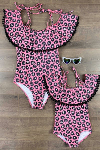 Mom & Me - Pink Leopard & Blk Pom Pom One Piece Swimsuit