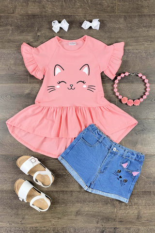 Sweet Kitten Denim Short Set