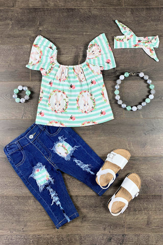 Mint Sadie Floral Bunny Denim Patch Capri Set
