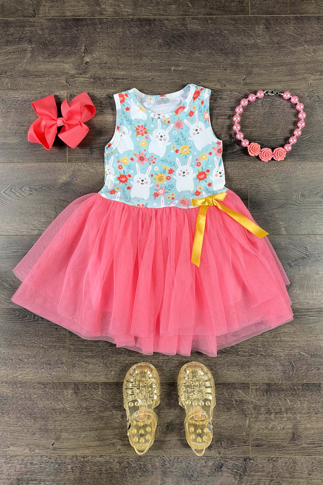 Calliope Coral Bunny Tutu Dress