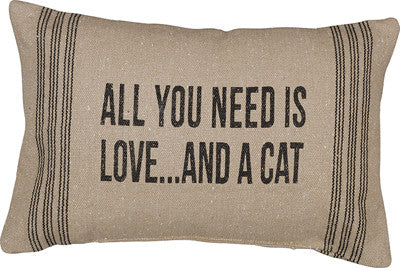 Primitives By Kathy 15 X 10 Accent Throw Pillow All You Need Is Love....and a CAT