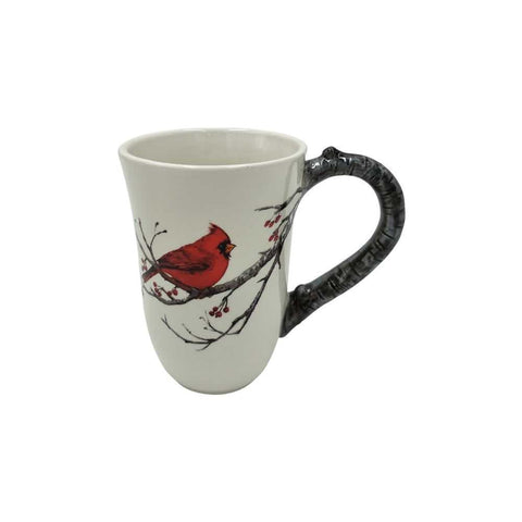 Comfy Hour 4 Decal Red Feather Sparrow Bird On Branch With Flower Mug Water Cup White And Red
