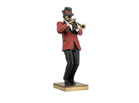 12.25 Inch Trumpet Player Cold Cast Decorative Figurine, Bronze Color