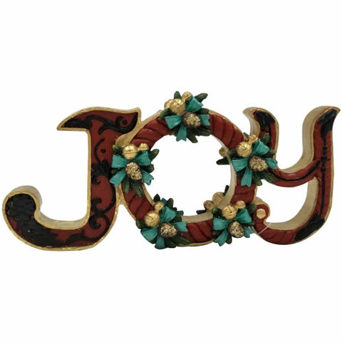 "Comfy Hour 4"" Christmas Wordings Joy Decorated with Flower Sculpture, Red"