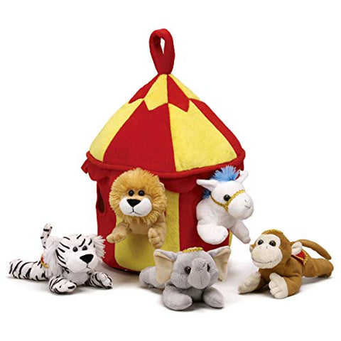 Plush Circus Animal House with Animals - Five (5) Stuffed Circus Animals ( Horse, Monkey, Elephant, Lion, Tiger) in Play Circus Tent House