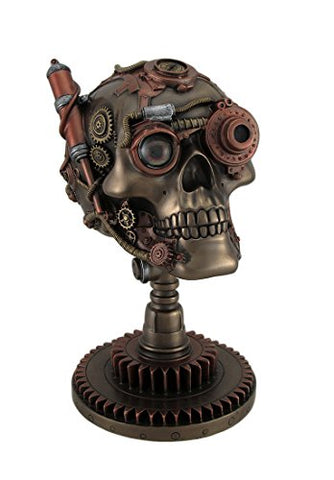 Veronese Resin Statues Bronze/Copper Finished Steampunk Skull Statue - Gear Base 5.25 X 8.75 X 6.5 Inches Copper