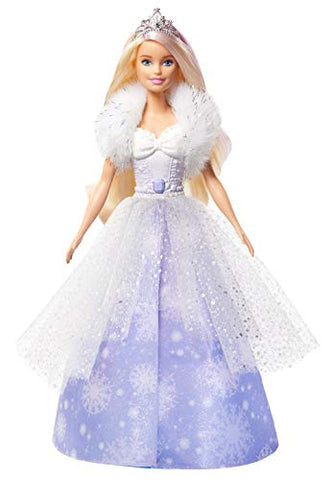 Barbie Dreamtopia Fashion Reveal Princess Doll, 12-Inch, Blonde with Pink Hairstreak, Snowflake Gown and Hairbrush