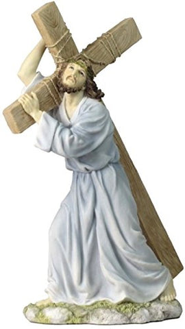 12 Inch Jesus on The Way to Calvary Decorative Figurine, Pastel Color
