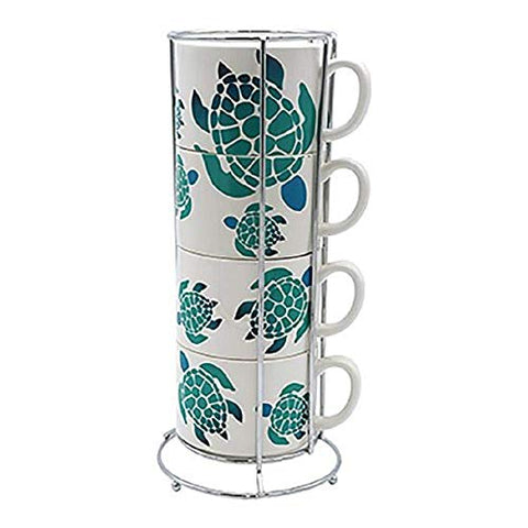DEI Ceramic Sea Turtle Stacking Mug Set