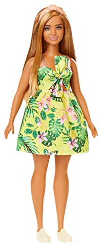 Barbie Fashionistas Doll with Long Blonde Hair Wearing Tropical Print Dress and Accessories, for 3 to 8 Year Olds