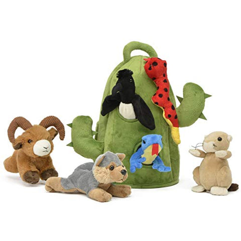 Plush Cactus Desert Animal House with Animals - Six (6) Stuffed Desert Animals (Snake, Lizard, Armadillo, Coyote, Prairie Dog, Roadrunner) in Play Cactus Carrying House