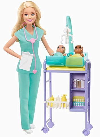 Barbie Baby Doctor Playset with Blonde Doll, 2 Infant Dolls, Exam Table and Accessories
