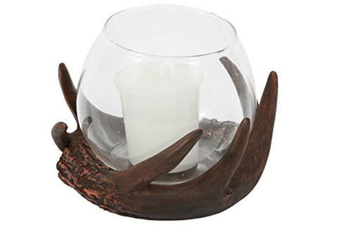 DEI Resin Antler Glass Globe Tealight Holder