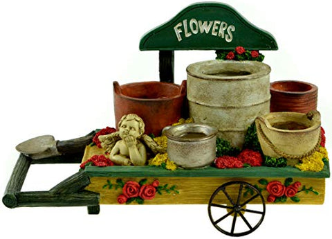"Midwest Design Imports Flower Wheelbarrow Container, 10"" x 6.5"" x 4.5"", Multicolor"