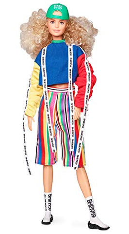 Barbie BMR1959 Fashion Doll with Curly Blonde Hair, in Color Block Sweatshirt with Logo Tape, Fully Poseable, with Accessories and Doll Stand