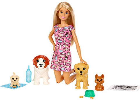 Barbie Doggy Daycare Doll, Blonde, and Pets Playset with Puppy that Poops and One that Pees, Plus Color-Change Paper and More