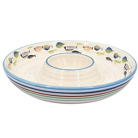 DEI 13075 Fish Tales Stripe Chip and Dip Ceramic Bowl