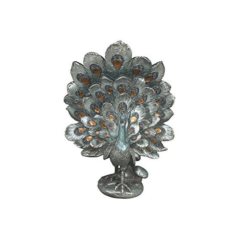 "Comfy Hour 12"" Decorative Peacock Spreading Tail Figurine, Silvery, Steady With Flat Pedestal"