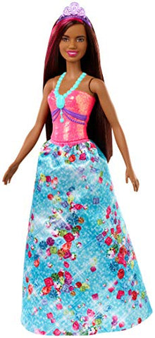 Barbie Dreamtopia Princess Doll, 12-Inch, Brunette with Pink Hairstreak Wearing Blue Skirt and Tiara, for 3 to 7 Year Olds