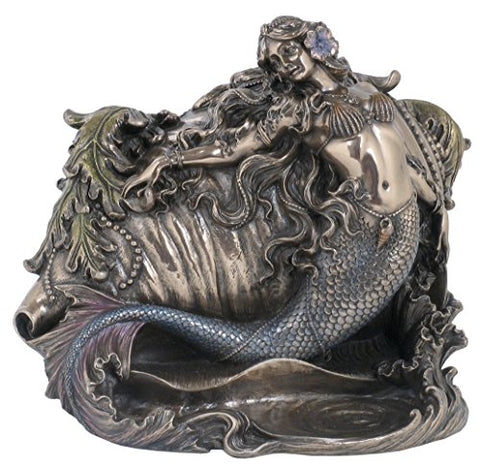 Mermaid and Conch Trinket Box, Bronze Powder Cast Statue 7.5-in