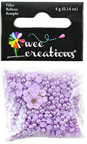 Wee Creations Pearl Beads and Natural Flowers, 4gm, Purple