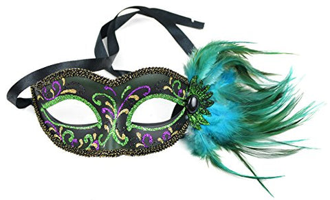 Fancy Half Mask Glitter and Feather Green 7 Inch 1Pc