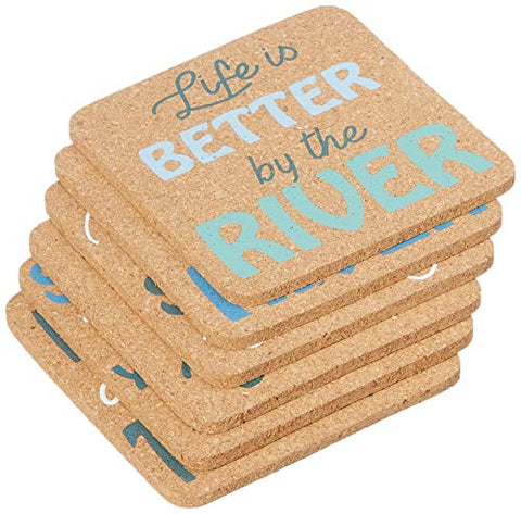"DEI 12042 River Sayings Coasters, 4"" sq, Mulitcolor"