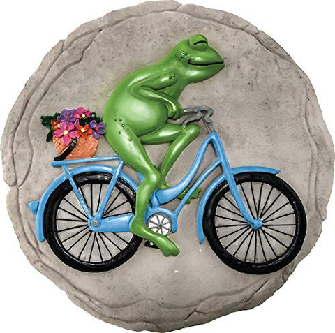 Spoontiques 13215 Frog On Bicycle Stepping Stone