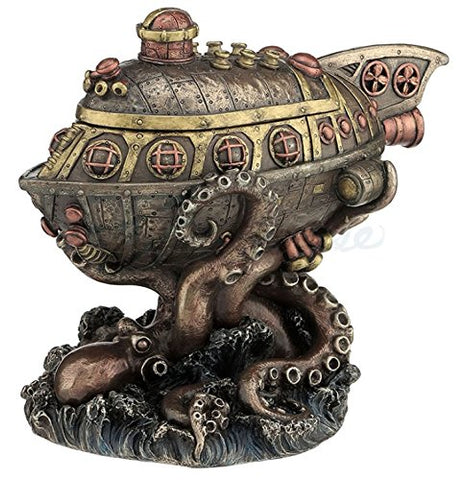 Steampunk Submarine Vs. Octopus Trinket Box Statue