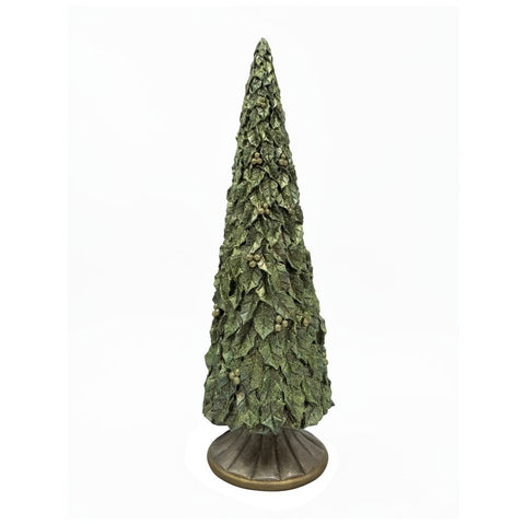 "Comfy Hour 14"" Christmas Tree Sculpture, Metallic Green"