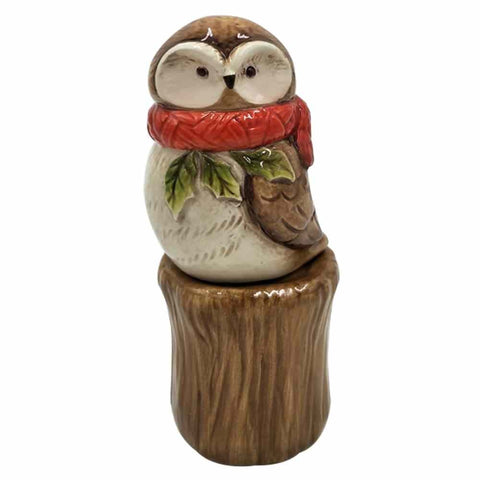 "Comfy Hour 5"" Owl Wearing Red Scarf On Stump Salt and Pepper Bottle Stoneware Figurine, S&P Set of 2, White and Brown"