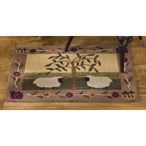 Willow and Sheep Hooked Rug Rectangle 24X36
