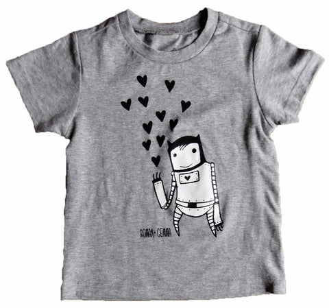 """ROBOT LOVE"" Baby/Toddler Tee (Heather Grey) - roman+gemma™  - 1"