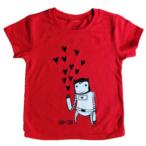"""ROBOT LOVE"" Baby/Toddler Tee in Red - roman+gemma™  - 1"