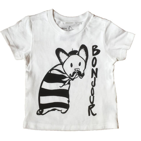 """Bonjour Mr. French Bulldog"" Baby/Toddler Tee - roman+gemma™  - 1"