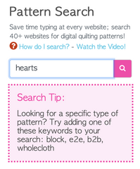 Screenshot of Get It Quilted's Pattern Search