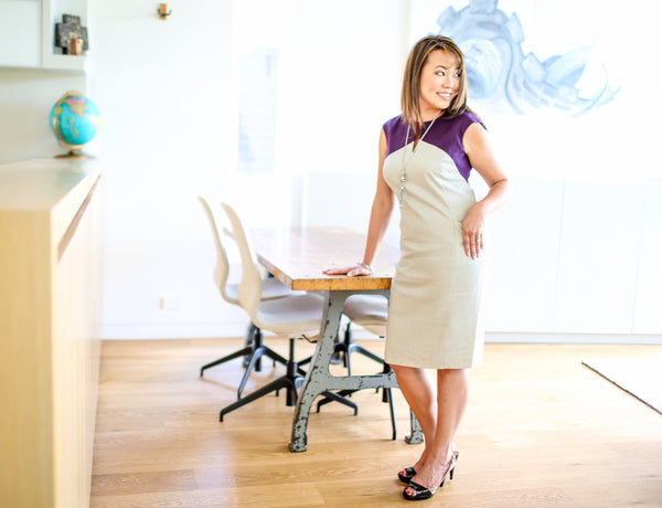 Elaine Tan Comeau wearing our Eco-Friendly Lila Dress (Smoke with Plum Contrast)