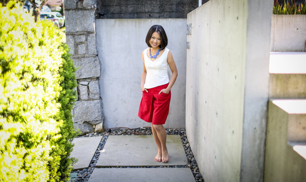 Yvonne Yua in our eco-friendly hemp blend Cassidy Top & Ola Shorts