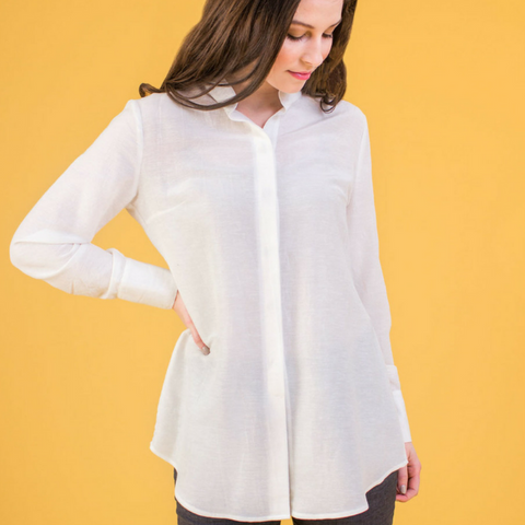 Ana Button Down Tunic Shirt (White Silky)