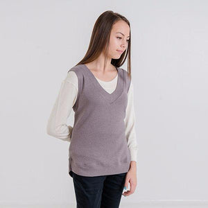 Gillian V-Neck Knit Vest (Mink Grey)