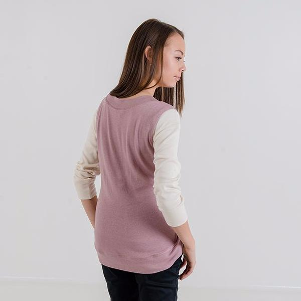 Gillian V-Neck Knit Vest (Dusty Pink)