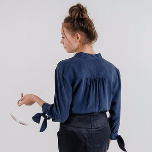 Margitta Tie-Sleeve Blouse (Navy Blue)