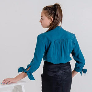 Margitta Tie-Sleeve Blouse (Evergreen)