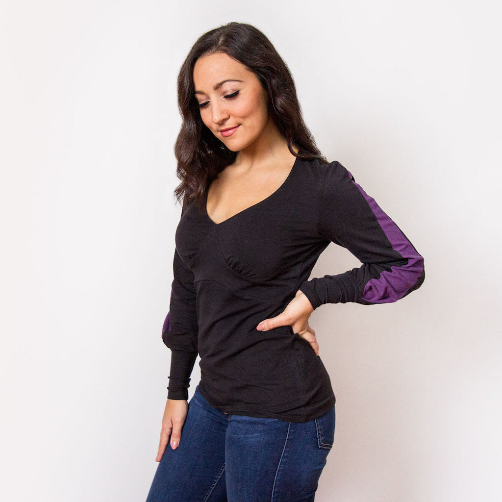 Lou V-neck Top (Black / Plum)