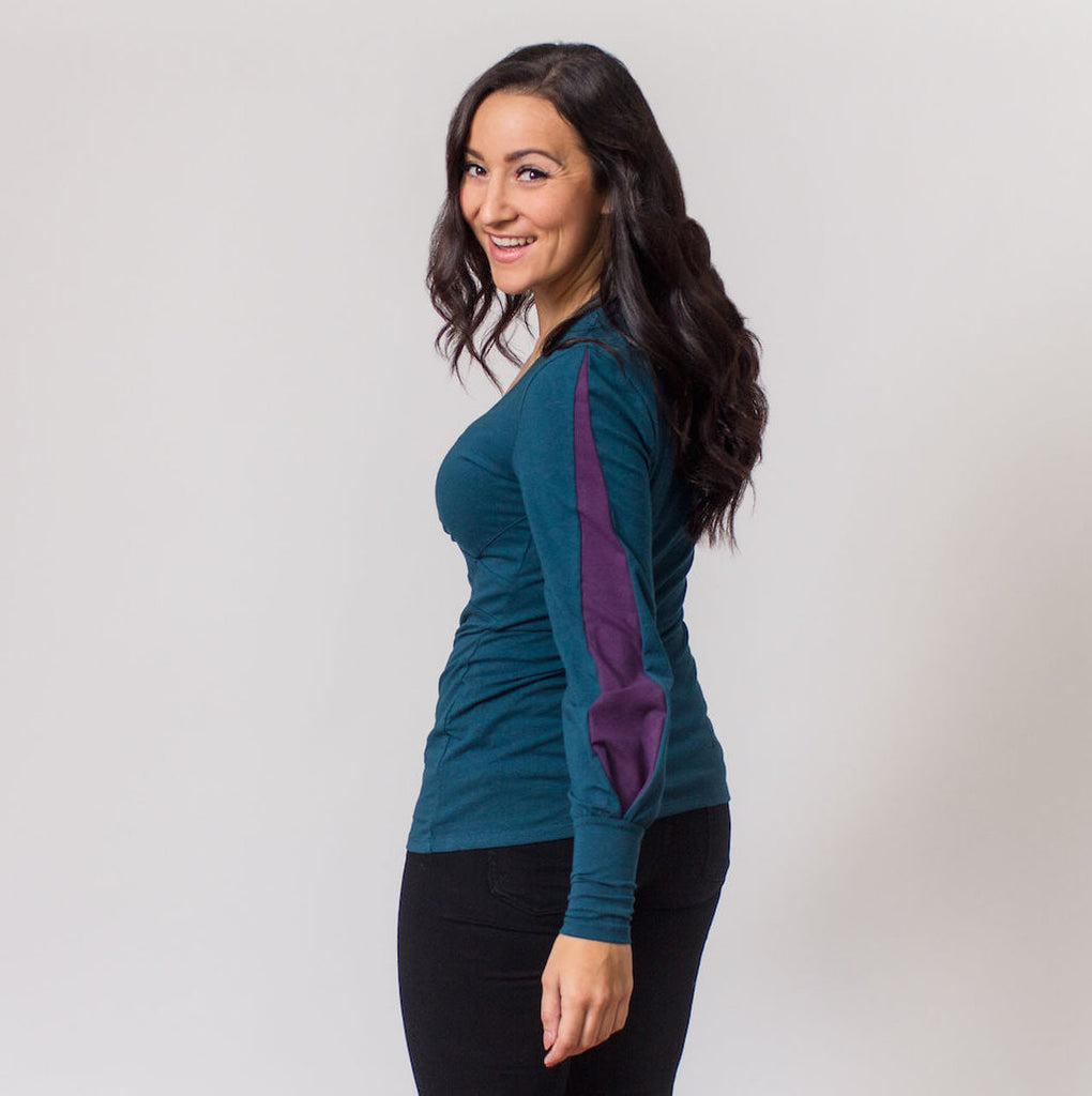 Lou V-neck Top (Evergreen with Plum Contrast)