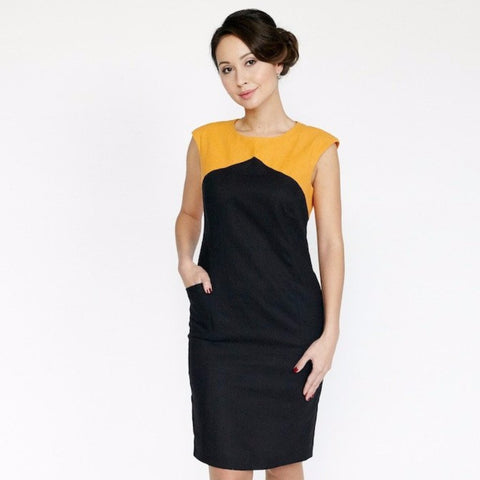 Dagny Dress (Black/Tangerine)