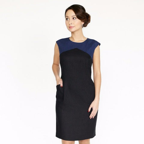 Dagny Dress (Black/Navy)